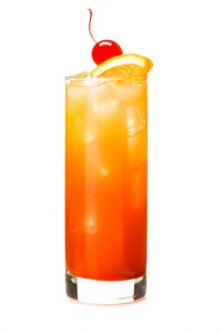 Tequila Sunrise Alcoholic Cocktail drink on White